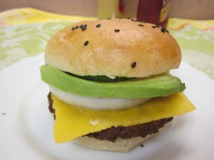 Cheese, onion, and California Avocado on a homemade roll.